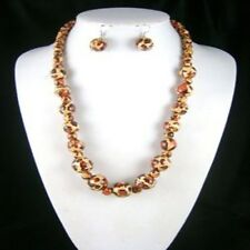 Animal Print Wood Bead Necklace Earring Set Brown No Metal