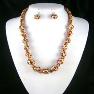 Animal Print Wood Bead Jewellery Necklace with Matching Drop Earring Set Brown