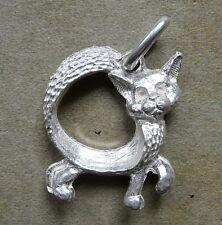 GATTO con CODA ciondolo in argento 925 millesimi