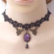 Black lace choker with purple flower,sexy lace choker for women,fashion chocker