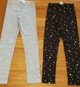 NEW Old Navy Girls 10-12 Full Length Leggings BLACK or GRAY Star Print #21120