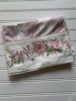 VINTAGE LAURA ASHLEY Pillowcase COUNTRY ROSE Pink White Stripe Standard