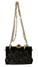 DOLCE & GABBANA Bag Purse VANDA Black Leather Crystal Clutch