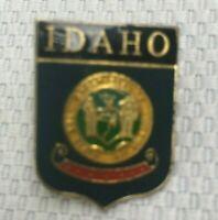 Vintage Idaho USA State Flag Lapel Travel Pin Gold Tone Enamel Collectible