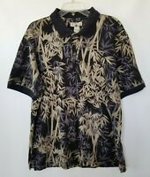 Caribbean Joe Polo Shirt Black Leaves Hawaiian Mens Taupe Gray Short Sleeve XL