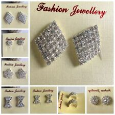 multiple styles samll Silver Crystal Diamante/Diamonte stud Rhinestone Earrings