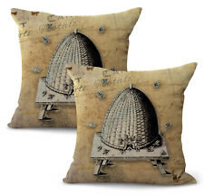 Us Seller- set of 2 bee hive cushion cover wholesale decorative pillow cover