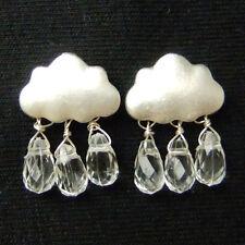 Rain Cloud Clear Glass Teardrop Fun Lovely Elegant Drop Dangle Earrings Gift