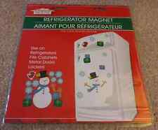 Christmas Refrigerator Magnet Set SNOWMAN GIFTS Snowflakes Winter Vinyl Decor