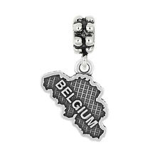Sterling Silver Oxidized Textured Travel Belgium Dangle Bead Charm