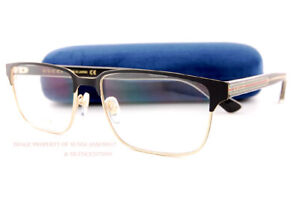 Brand New GUCCI Eyeglass Frames GG 0383/O  004 Black/Gold For Men Size 58