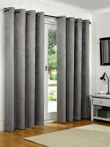 Luxury Silver Grey Embossed Thermal Blackout Eyelet Ring Top Lined Pair Curtains
