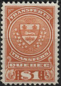 Canada VanDam #QST15 $1.00 red Quebec Stock Transfer Stamp MNH of 1913