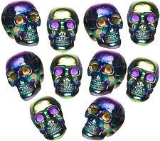 10 Pack Mini Oil Slick Holographic Skulls Heads Tabletop Halloween Decor Prop