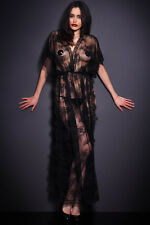 Black Sheer Lace Robe With Thong Nightdress/Glamour wear Size UK One Size 10-12