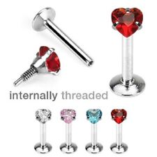 4pc Heart Stud LABRET Monroe LIP CHIN EAR Rings Cartilage Helix Piercing Jewelry