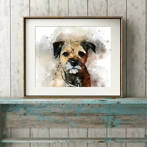 Border Terrier Dog Wall Art, Watercolour Print, A4, *UNFRAMED*, Picture Gift