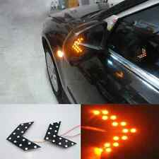 2 Pcs Rear View Wing Mirror Arrow Panel Yellow Led Turn Signal Light For Peugeot