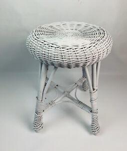 Vintage 60s Mid Century Modern Shabby Chic White Wicker Round Stool Chair