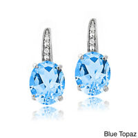 """Sterling Silver Blue Topaz Made with Swarovski Crystal Leverback Earrings 1.1"""""""