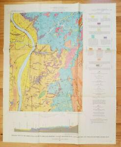 Vtg 1967 Geologic Map Springfield South Hampden Cty MA Hartford & Tolland Cty CT