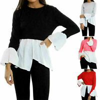 Ladies Contrast Hi Low Jumper Women's Scoop Neck Bell Sleeve Slit Blouse Top
