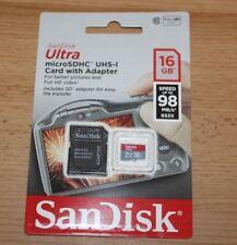 SanDisk Ultra microSDHC carte UHS-1 avec adaptateur 16 Go 98 MB/s-Authentique & Sealed