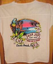 Vintage 80's, RON JON Surf Shop, Coco Beach FL, White V-Neck Pullover Shirt, L