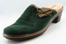 Softspots Mule Green Leather Women Heel Shoes Size 8 M