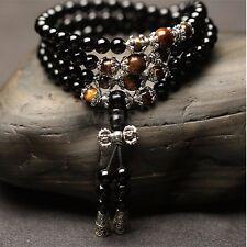 Homme Collier Bracelet Perles Chapelet Sautoir Pierre Mala Bouddhiste Tibétain