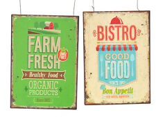 Rétro Style Vintage-Fresh farm + Bistro Photo Plaque-Lot de 2-NEUF