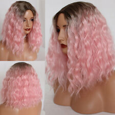 Ombre Pink Wig Synthetic Hair Loose Curly Wigs Heat Resistant Soft Fiber Layered