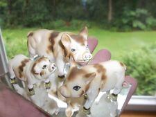 VINTAGE MINIATURE BONE CHINA PIG HOG FAMILY ON MIRROR * JAPAN