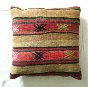 """Southwestern Design KILIM Turkish PILLOW Cover w INSERT Red Brown Gray 16"""" x 16"""""""