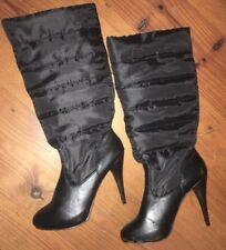 Steve Madden  Stiletto Boot 8 1/2 Black Quilted Fabric Vegan Non Slip Sole Calf