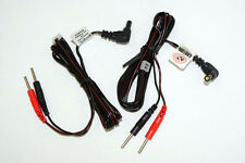 """2 Electrode Replacement TENS Unit Lead Wires with Pin Connectors 45""""-2 each New"""