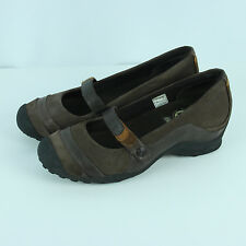 Merrell Eden MJ Multi Brown Sz 8.5 Slip On Mary Janes Shoes Suede Leather Wedges