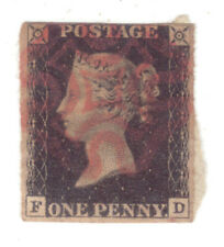 1840 Great Britain 1d Penny Black ***Red Maltese Cross Cancellation***