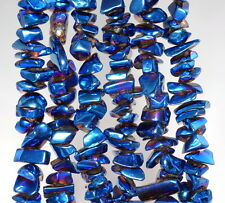 6X3-10X5MM BLUE HEMATITE GEMSTONE PEBBLE CHIPS 6X3-10X5MM LOOSE BEADS 7-8""