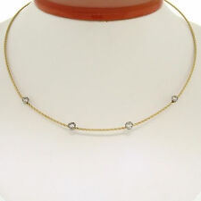14k Yellow & White Gold Twisted Cable .53ctw Diamond by the Yard Collar Necklace