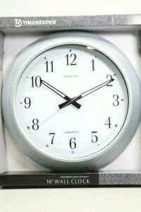 Brand New Timekeeper 16'' Galvanized Silver Metal Wall Clock Sealed (LOC 41M)