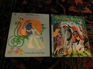 Vtg Lot 1959 Walt Disney's Sleeping Beauty Cinderella Golden Tell-A-Tale Books