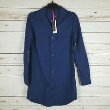 I <3 Heart Ronson Blue Purple Pinstripe L/S Button Up Shirt Dress NWT XS