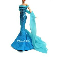 Barbie pierre de naissance turquoise paillettes robe & Sheer Wrap Forme Raccord Robe Chaussures