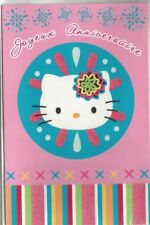HELLO KITTY carte anniversaire rayures multicolores