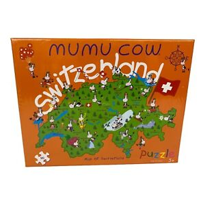 Swiss Mumu Cow Puzzle Map of Switzerland 90 Pieces Cotfer Geneve Ages 5+