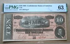 Confederate Currency T-68 1864 $10 PMG Choice Uncirculated 63