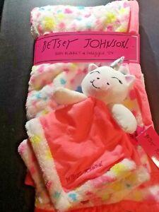 Betsey Johnson Baby Blanket & Snuggle Toy 2 Piece Set Unicorn & Rainbows,Hearts