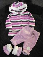 BNWT Girls Baby Brand Size 00 Cute Fuzzy Hoodie Jacket Pants & Slippers Set