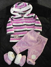 BNWT Girls Baby Brand Size 1 Cute Fuzzy Hoodie Jacket Pants & Slippers Set